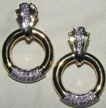 1.00CT DIAMOND CIRCLE FRAME DANGLE EARRINGS 14KT 35MM
