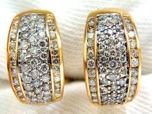 1.40CT DIAMONDS THREE ROWED SEMI HOOP BEAD SET CHANNEL