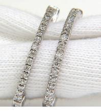 .85CT DIAMONDS HOOP EARRINGS G /VS SNAP EASY BUTTON