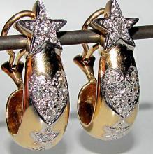 1.25CT DIAMOND PAVE HOOP EARRINGS 14KT HEARTS & STAR