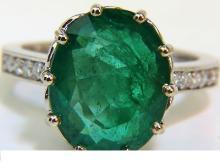 7.40CT NATURAL DIAMOND EMERALD RING 14KT VIVID SHEEN