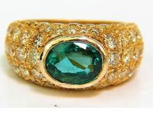 6.30CT ETERNITY NATURAL EMERALD FANCY YELLOW DIAMONDS
