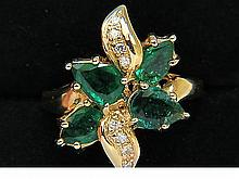 1.68CT NATURAL EMERALD DIAMOND COCKTAIL RING 14KT