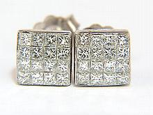 1.16CT SQUARE COCKTAIL CLUSTER PRINCESS DIAMOND EARRING