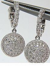 14KT 1.10CT DIAMOND CLUSTER HOOP DANGLE EARRINGS G/VS