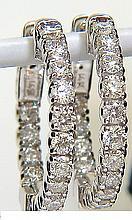 1.46CT DIAMONDS HOOP EARRINGS G/VS FULL CUTS & SNAP