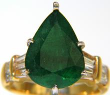 6.50CT NATURAL EMERALD DIAMOND RING 14KT