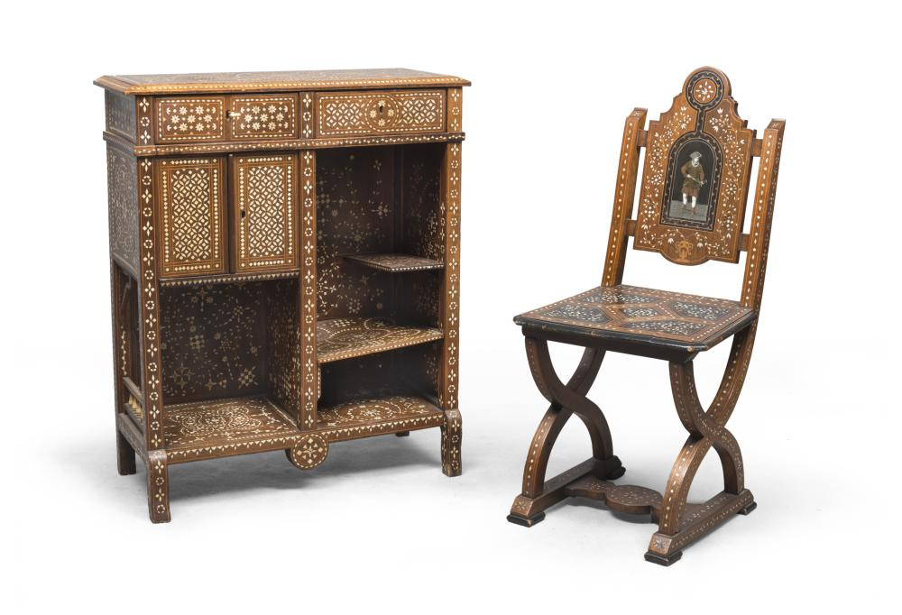 SMALL SIDEBOARD AND CHAIR IN BOXWOOD, PROBABLY FLORENCE FINE 19TH CENTURY