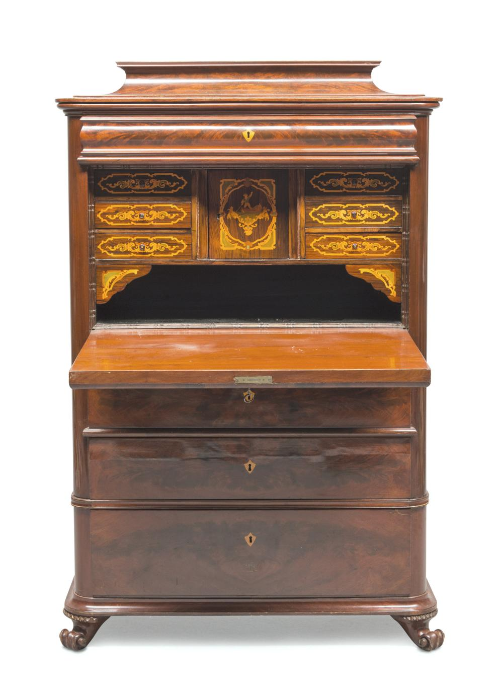 Lot 389: BEAUTIFUL SECRETAIRE IN FEATHER MAHOGANY, PROBABLY GERMANY, PERIOD CHARLES X