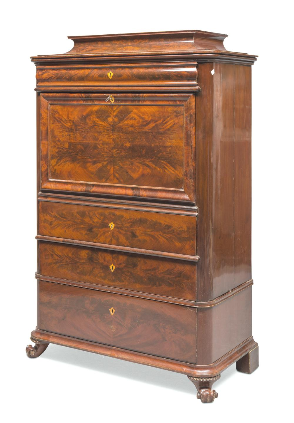 BEAUTIFUL SECRETAIRE IN FEATHER MAHOGANY, PROBABLY GERMANY, PERIOD CHARLES X