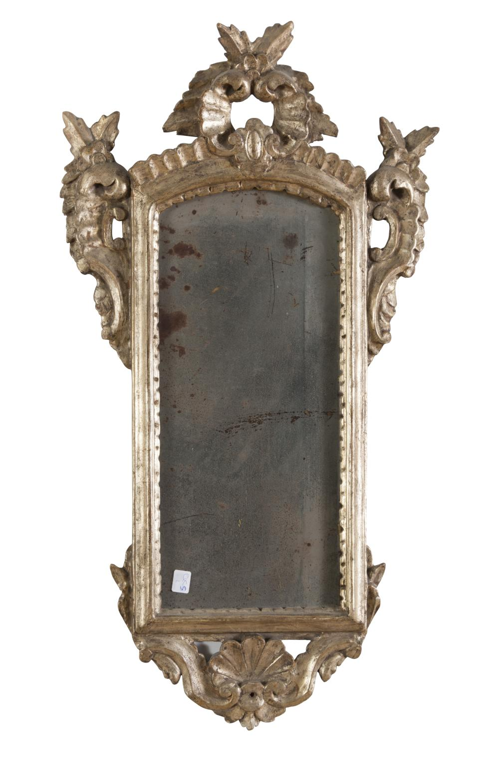 SMALL MIRROR IN SILVER-PLATED WOOD, VENETO 19TH CENTURY
