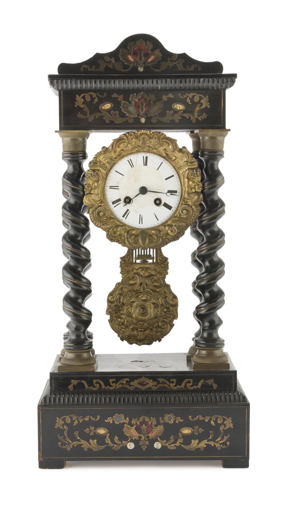 Lot 402: TEMPLE CLOCK IN EBONIZED WOOD, 19TH CENTURY