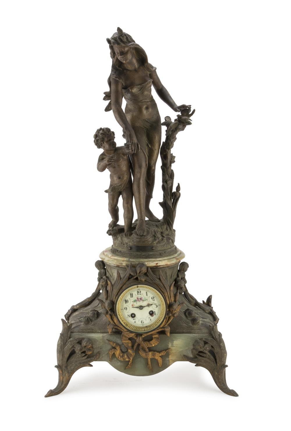 Clock In Antimony And Onyx, France LATE 19TH CENTURY