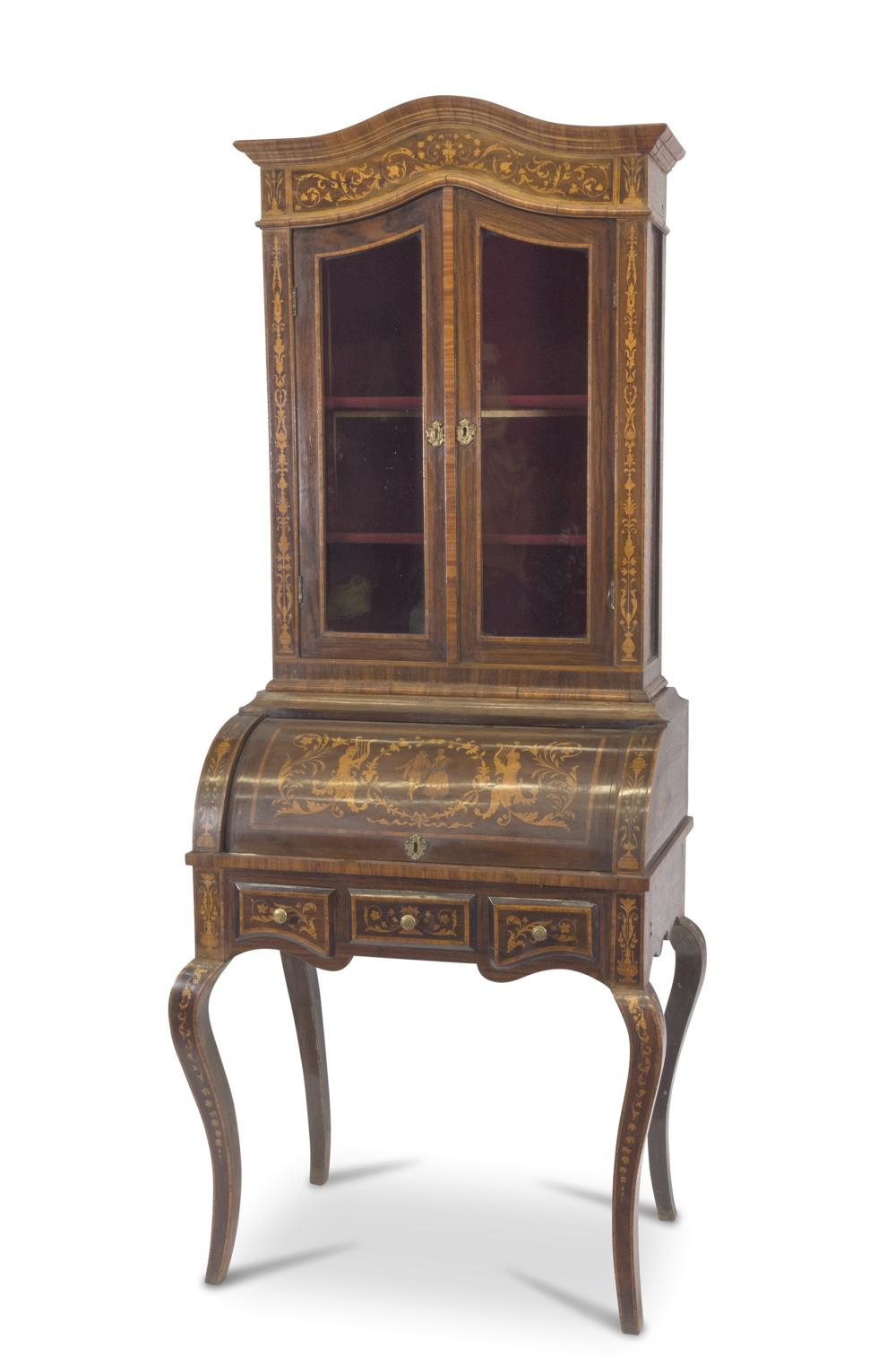 FLIP TOP GLASS CABINET IN PALISANDER, NORTHERN ITALY 19TH CENTURY