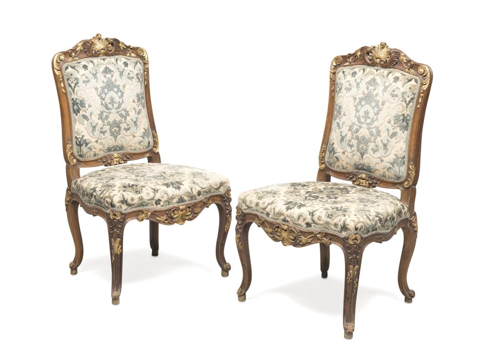 A PAIR OF WALNUT CHAIRS, PERIOD NAPOLEON III