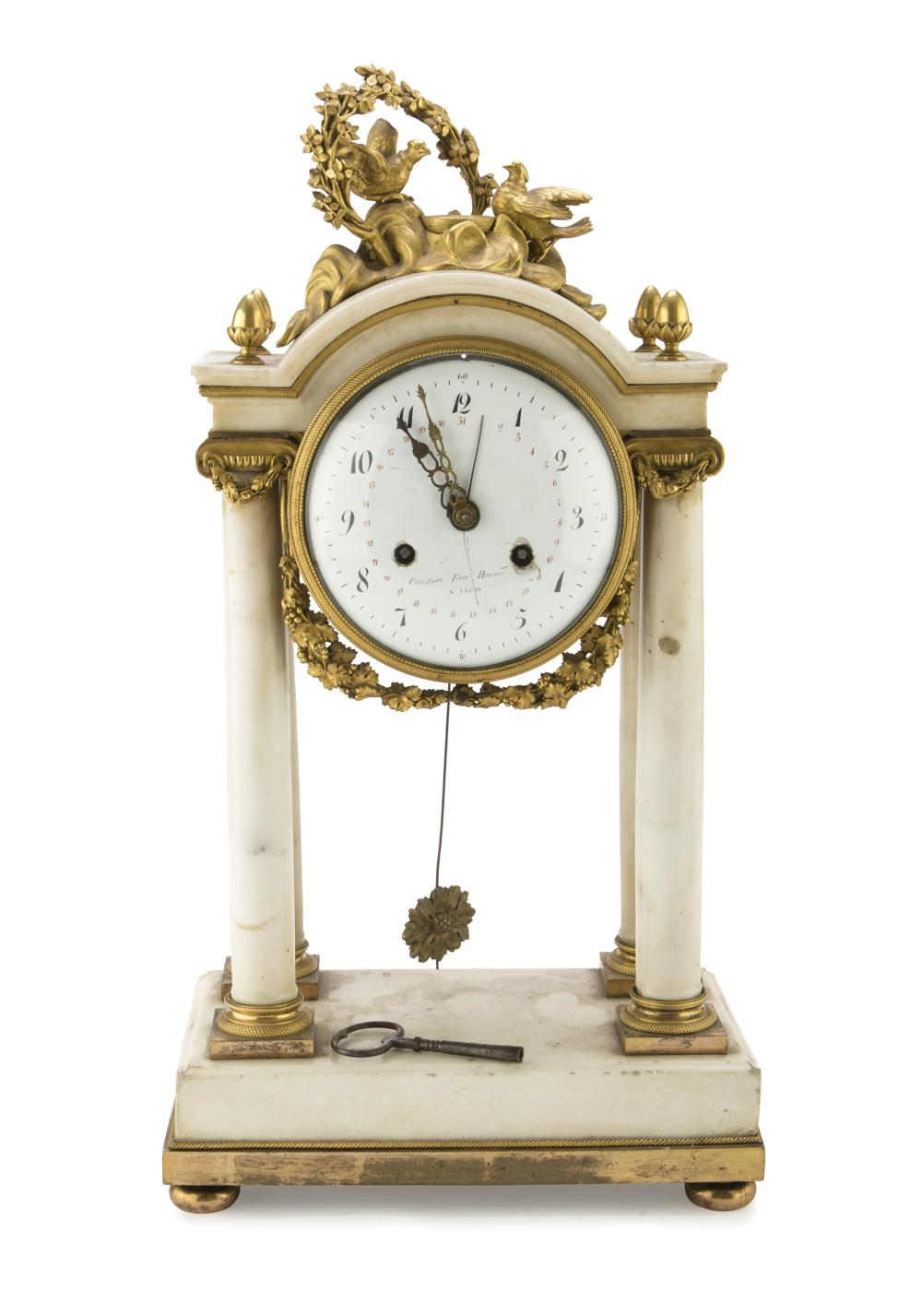 Lot 424: TEMPLE CLOCK IN WHITE MARBLE, FRANCE 19TH CENTURY