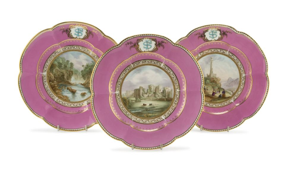 Lot 406: THREE BEAUTIFUL PORCELAIN DISHES, ENGLAND 19TH CENTURY