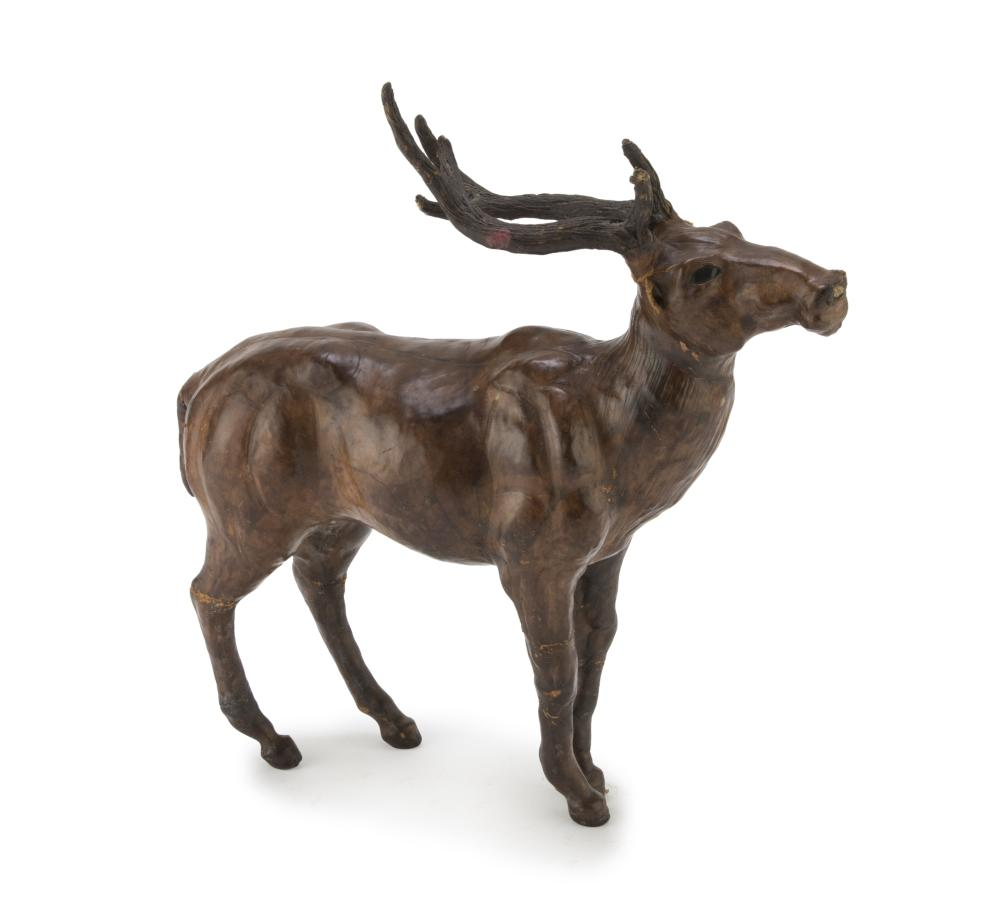 LEATHER SCULPTURE OF A BUCK, 20TH CENTURY
