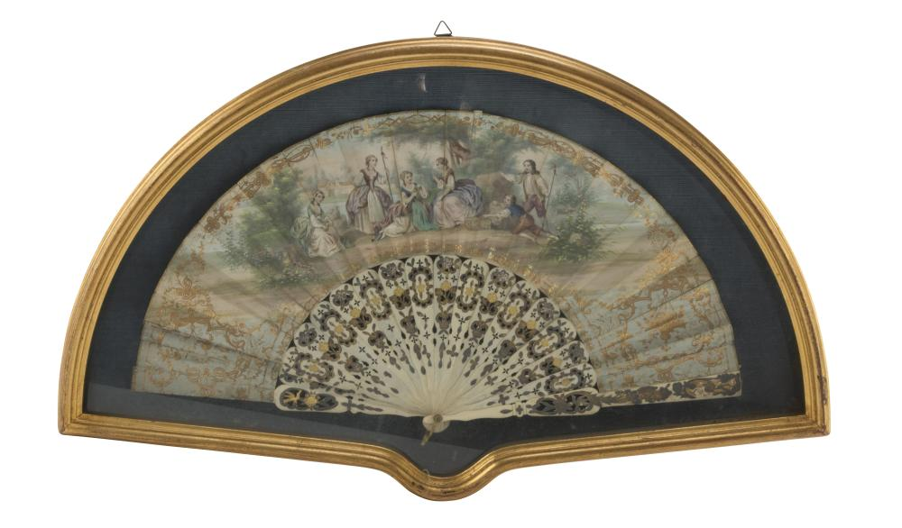 FAN IN PAINTED PAPER, FRANCE 19TH CENTURY