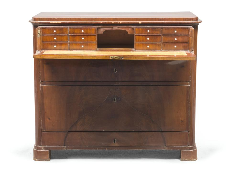 COMMODE SECRETAIRE IN FEATHER MAHOGANY, ENGLAND 19TH CENTURY