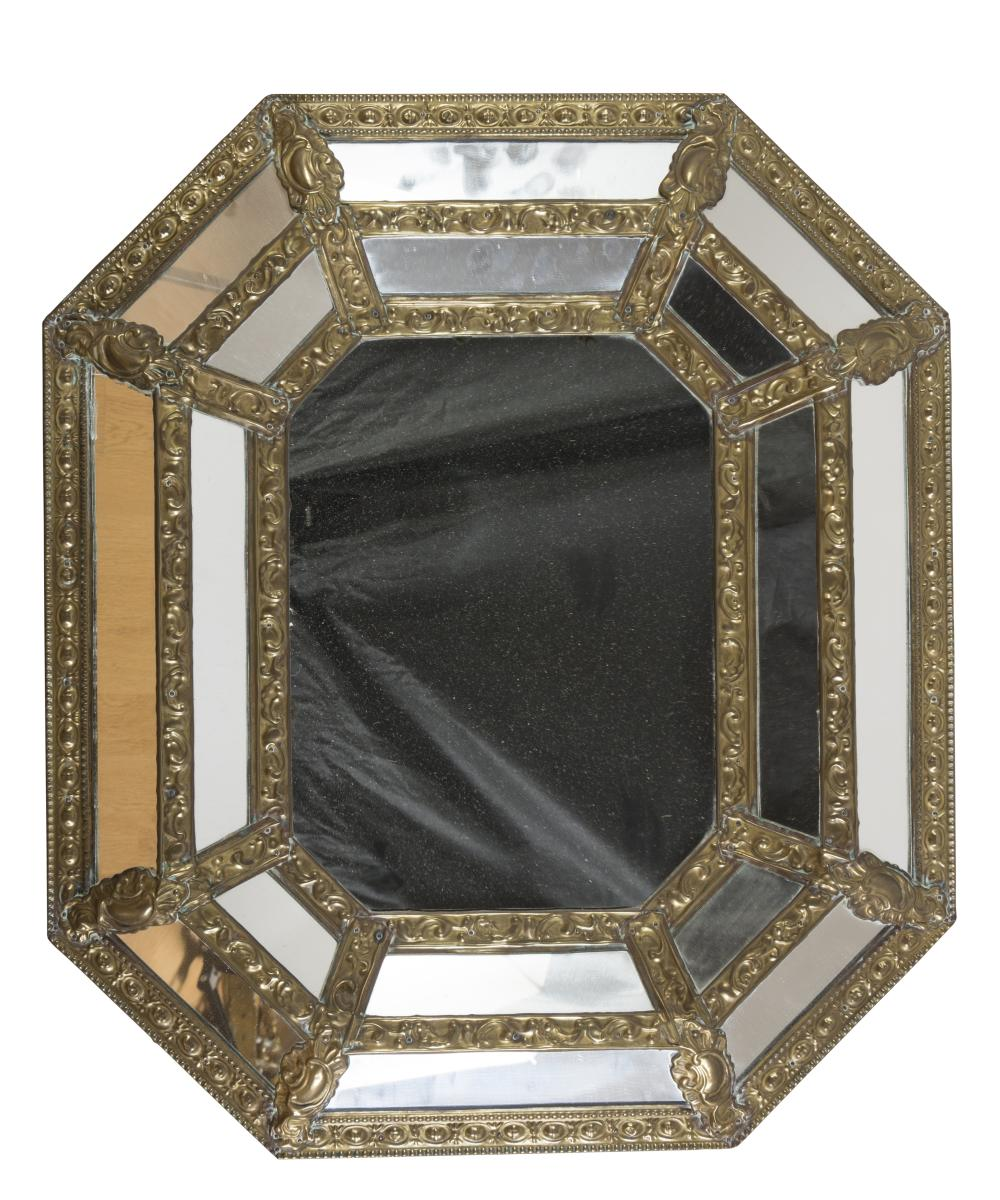 MIRROR IN GILDED METAL, HOLLAND EARLY 20TH CENTURY