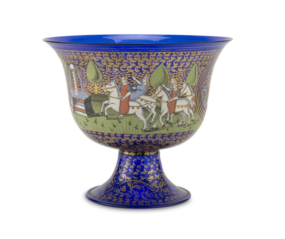 CUP IN BLUE GLASS, CENTRAL EUROPE, EARLY 20TH CENTURY