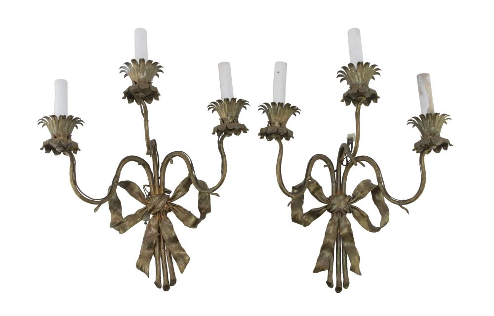 Lot 511: A PAIR OF APPLIQUES IN GILDED METAL, 20TH CENTURY
