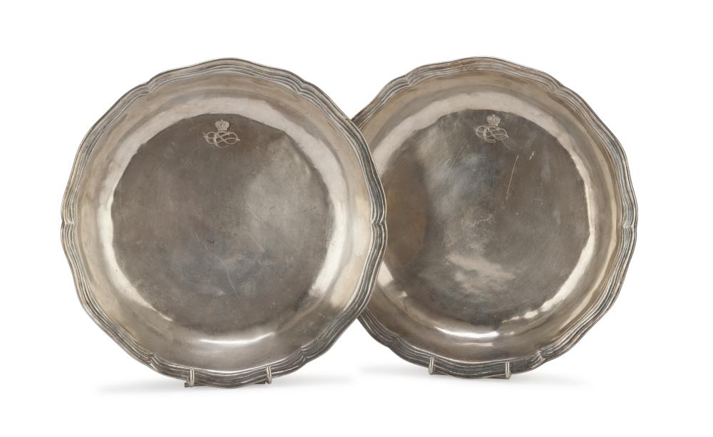 A PAIR OF SMALL BASINS IN SILVER-PLATED METAL, PROBABLY ITALY 19TH CENTURY