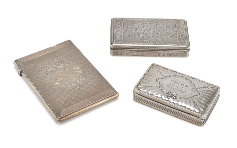 VESTA CASE AND TWO TOBACCO BOXES IN SILVER, PUNCHES AUSTRIA AND UNITED KINGDOM EARLY 20TH CENTURY