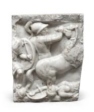 FRAGMENT OF HIGH-RELIEF SCULPTURE IN WHITE STATUARY MARBLE, 19TH CENTURY