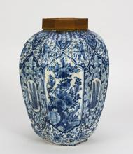 REMAINS OF AWHITE AND BLUE CERAMIC VASE, DELFT, 18TH CENTURY
