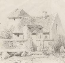 PIO JORIS (ROME 1843 - 1921).  LANDSCAPE WITH CHURCH.