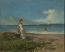 FRANCIS CAPUANO (Naples 1854 - 1908)  WOMAN THAT PULLS THE NETS ON THE BEACH