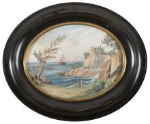 ITALIAN PAINTER, 19TH CENTURY  COASTLINE WITH SHIPS AND FISHERMANS
