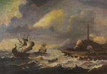 DUTCH PAINTER, END 19TH CENTURY  HE/SHE MARINATES WITH SAILING SHIPS NEAR THE COAST