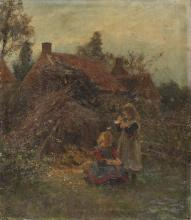 FRANS PROOST  (Anversa 1866 - 1941)  VIEW OF VILLAGE WITH CHILDREN