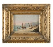 ITALIAN PAINTER, LATE 19TH CENTURY  SEA COAST WITH BOATS AND FISHERS