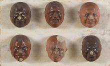 SIX MASKS IN LACQUERED WOOD, JAPAN, 20TH CENTURY