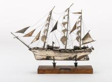 SILVER-PLATED MODEL OF SAILING SHIP, 20TH CENTURY