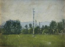 OIL PAINTING OF A LANDSCAPE WITH TRUSS BY MARCO CALDERINI (1850-1941)