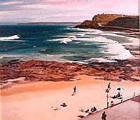 John Earle (b.1955) Newcastle Beach Oil on canvas