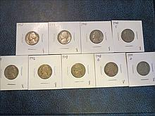Jefferson Nickels: 1938, 1939, 1940, 1940s, 1941s, 1942, 1948, 1948d & 1949d