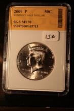2009P JFK Half Dollar Graded MS70 in an SGS Slab