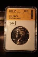 2005P JFK Half Dollar Graded MS70 in an SGS Slab