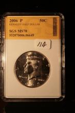 2006P JFK Half Dollar Graded MS70 in an SGS Slab