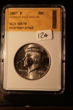 2007P JFK Half Dollar Graded MS70 in an SGS Slab