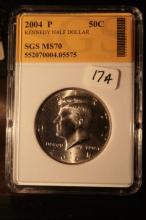 2004P JFK Half Dollar Graded MS70 in an SGS Slab