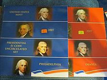 2007 P & D US Mint Presidential Dollar Set - UNC