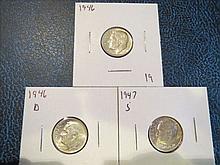 Roosevelt Dimes: 1946, 1946D & 1947S