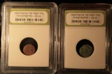 Lot of Two Ancient Roman  Constatiine the Great c. 330AD certified in INB Slabs